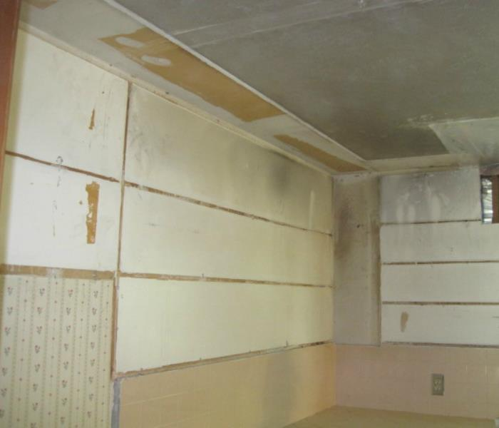 Smoke damaged kitchen